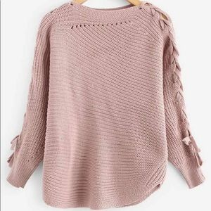 Coming soon Lace up solid sweater